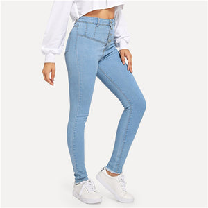 Dotfashion Blue Button Front Washed Skinny High Waist Jeans