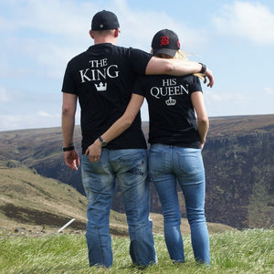 The King His Queen Pair Of T- Shirts Husband Wife Boyfriend Girlfriend