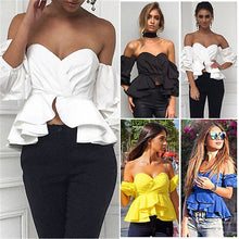 Load image into Gallery viewer, Off Shoulder Puff Sleeve Ruffle V-neck Peplum Crop Top