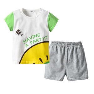 Cotton T-Shirt+Short Pants  Suits 2 to 8 Years Old 2 PCS Set