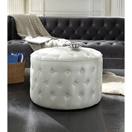 Swell Iconic Home Marley Modern Tufted Beige Leather Round Pouf Ottoman Machost Co Dining Chair Design Ideas Machostcouk