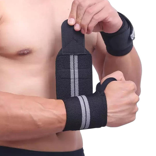 AOLIKES WEIGHT LIFTING WRISTBAND  | BLACK & GREY COLOR | GYMSUPPLEMENTSUS.COM