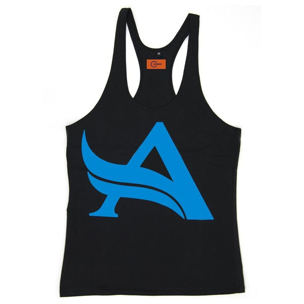 CLASSIC STRINGER BLACK-BLUE | GYMSUPPLEMENTSUS.COM | GYM SUPPLEMENTS U.S