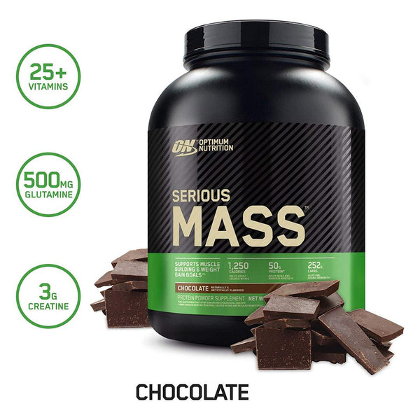OPTIMUM NUTRITION - SERIOUS MASS GAINER 12LBS | CHOCOLATE FLAVOR | GYM SUPPLEMENTS U.S