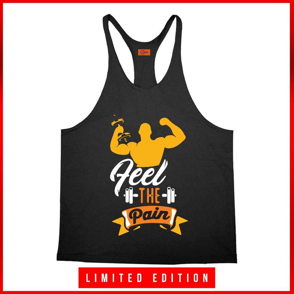 Feel the pain stringer | gym clothing | sportswear | tanktop | gymsupplementsus.com | gym supplements u.s