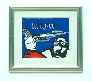 "Herman Brood    "" F-16 Fighting falcon"" (zeefdruk met lijst)"