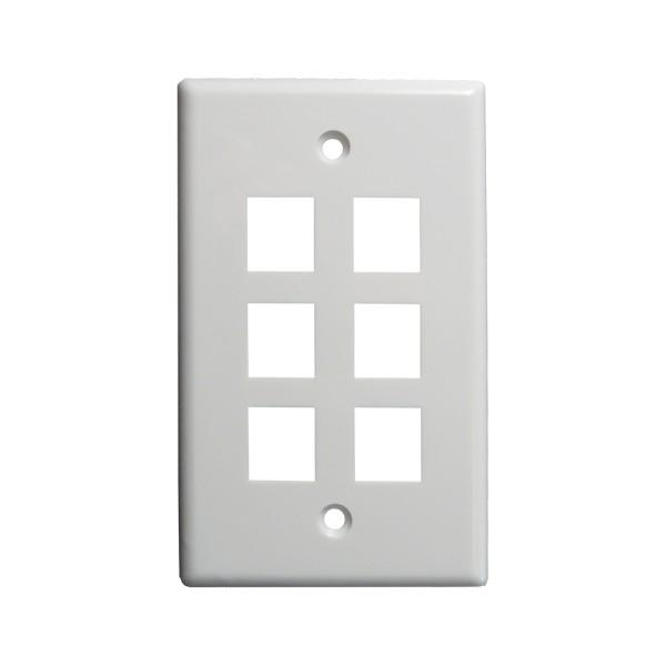 Eystone Wall Plate 6-Port White