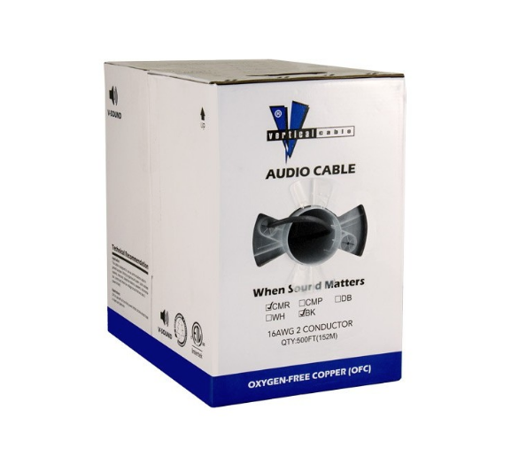 Audio Cable 16AWG 2 Conductor (65 Strand) Direct Burial 500′ PE Jacket Pull Box Black