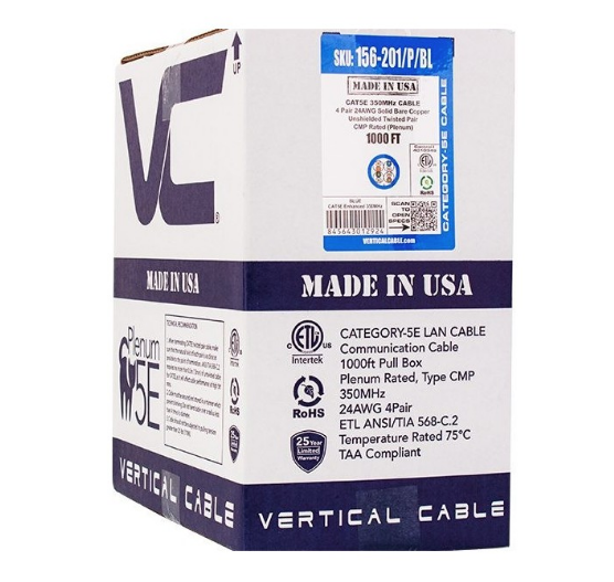 Cat5E CMP FT6 24AWG UTP 4 Pair Solid Bare Copper 350MHz 1000ft Pull Box