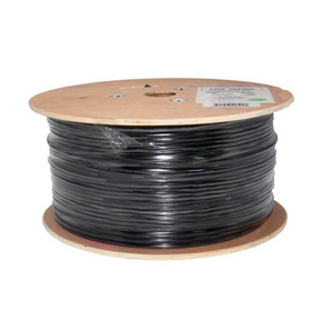 Cat6 CMX Outdoor Rated Cable UV Rted 23AWG Solid-Bare-Copper Black 1000ft Wooden Spool
