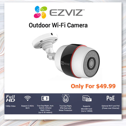 Ezviz Husky Bullet 1080p WiFi Outdoor Surveillance Camera with PoE Port