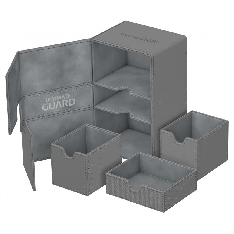 Ultimate Guard Twin Flip'n'Tray - Xenoskin Deck Case - Grey (200+) | Gamerz Cafe