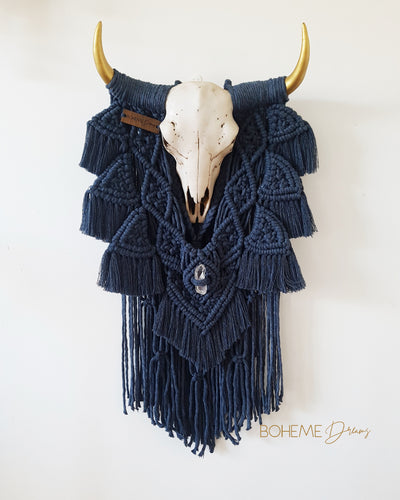 Resin Bull Skull Macramé Large