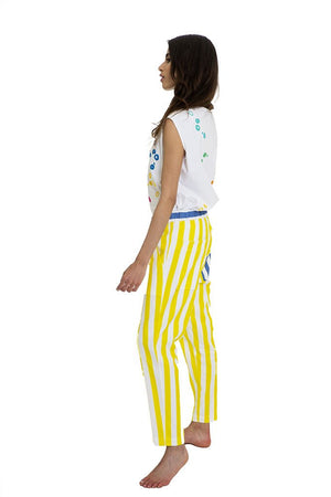 Mira Mikati Spot Embroidered Tank Top & Stripe Drawstring Surfer Trousers - That Sunny Spot