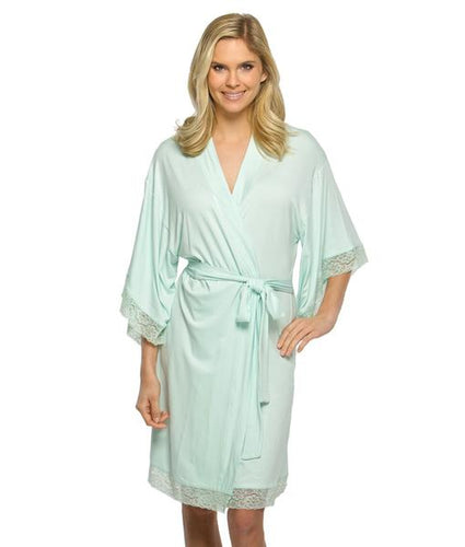 Kensington Jersey Lace Robe - Mint