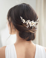 Load image into Gallery viewer, Bailey Pearl & Flower Hair Comb
