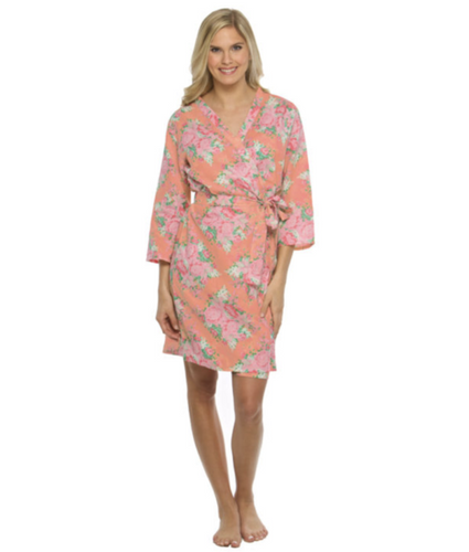 Chelsea Cotton Floral Robe - Coral