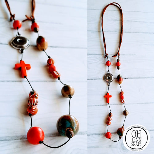 Orange Cross Snap Lariat
