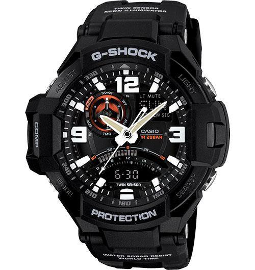 Casio Men's GA100-1A4 G-Shock Ava-Digi 3 Eye Dial Military Black Red Watch