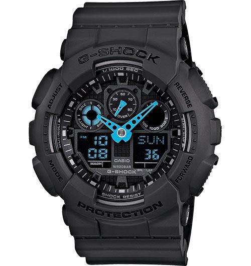 Casio Men's GA100C-1A3 G-Shock Ana-Digi 3 Eye Neon Highlights Blk Green Watch