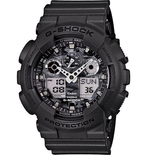 Casio Men's GA100C-8A G-Shock Ana-Digi 3 Eye Neon Highlights Blk Blue Watch