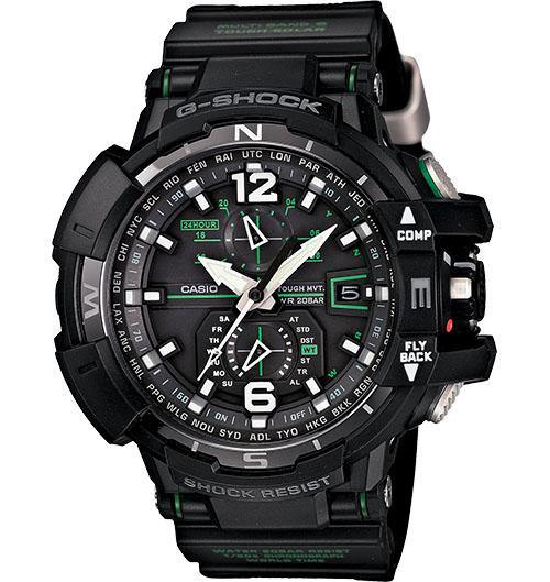 Casio Men's GWA1000FC-5A G-Shock G-Aviation Multi-Band 6 Black Triple G Resist Brown Composite Watch