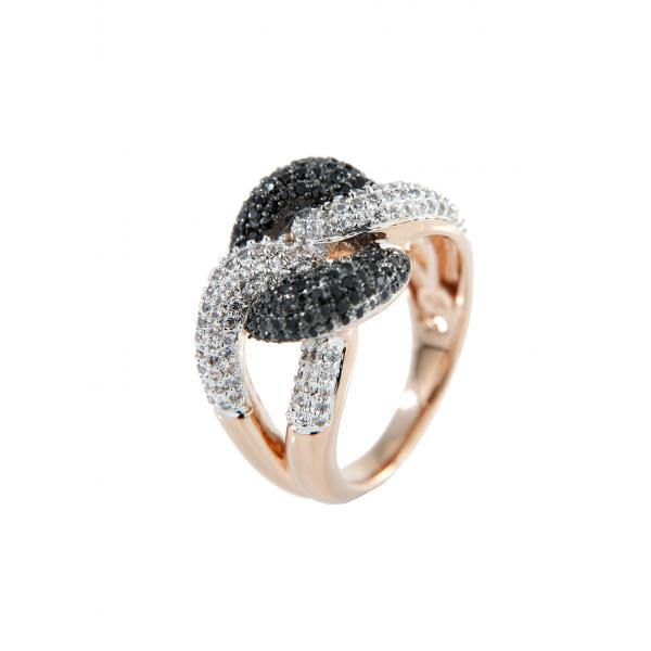 Concave Ring with Cubic Zirconia Pave