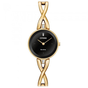 Citizen Eco-Drive Women's EX1422-54E Silhouette Gold-Tone Black Dial Watch