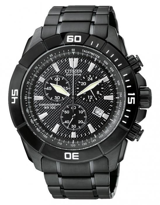 Citizen Men's AT0815-51E Eco-Drive Sport Chronograph Black Plated Stainless Steel Watch