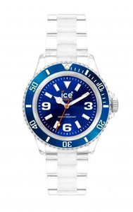 Ice-Watch Unisex Classic Clear Blue Chronograph Watch-Clear Bracelet-Blue Dial-CLBEUP09