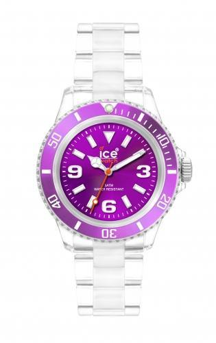Ice-Watch Unisex Classic Clear Purple Chronograph Watch-Clear Bracelet-Purple Dial-CLBEUP09