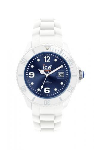 Ice-Watch Unisex White Dark Blue Chronograph Watch-White Band-Blue Sunray Dial-SIWBUS10