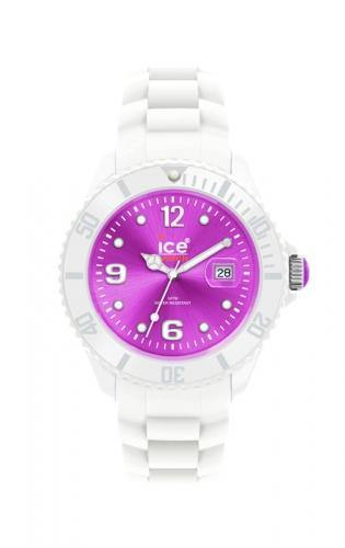 Ice-Watch Unisex White Purple Chronograph Watch-White Band-Purple Sunray Dial-SIWVUS10