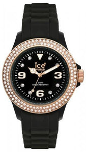 Ice-Watch Unisex Stone Sili Black Chronograph Watch-Black Band-Black Dial-STBKUS09