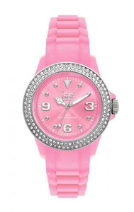 Ice-Watch Unisex Stone Sili Pink Silver Chronograph Watch-Pink Band-Pink Dial-STPSUS10