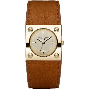 Michael Kors Leather Brown Strap Champagne Dial Women's watch #MK2203