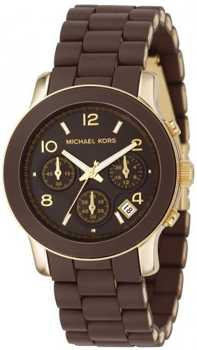 Michael Kors Brown Polyurethane and Gold-tone Women's Watch MK5238