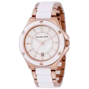 Michael Kors Rose Gold-tone and White Acrylic Women's Watch MK5261