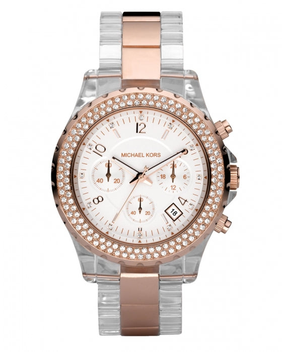 Michael Kors Clear Plastic and Gold-tone Chronograph Women's Watch MK5323
