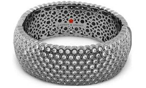 BANGLE RUTHENIUM W FUN BUBBLES CZ DOTS ALL AROUND