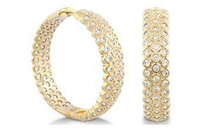 EARRING GOLD HOOP W BUBBLE CZs DESIGN IN & OUT