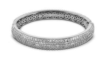 BANGLE RHODIUM W CLEAR OR BLACK PAVE