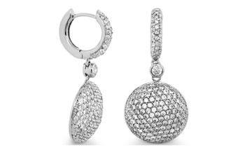 EARRING LONG RHODIUM HUGGIE W PAVE MEDALLION