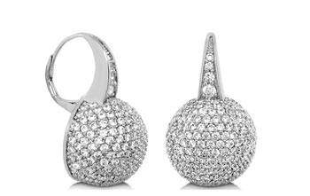 EARRING RHODIUM LEVER W PAVE HALF BALLS