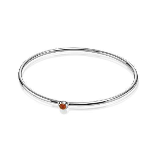 Cabochon Bangle 1-Stone w Carnelian