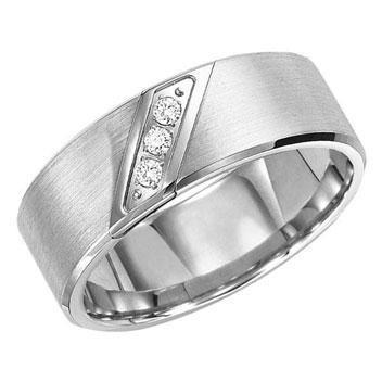 White Tungsten Carbide w Diamonds 8mm Men's Wedding Band