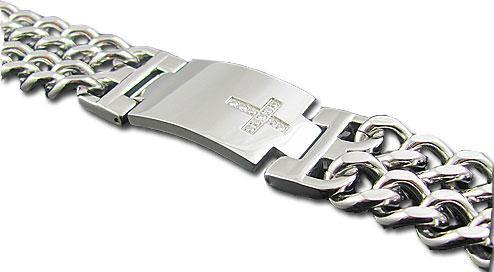 Stainless Steel CZ Double Link Bracelet