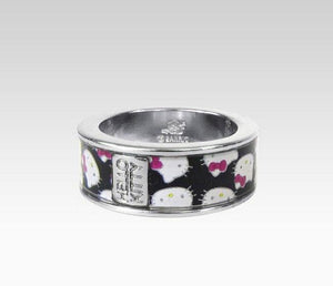 Hello Kitty Narrow Ring Black Pattern