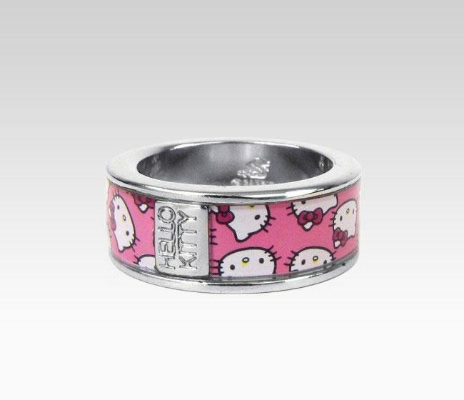 Hello Kitty Narrow Ring Pink Faces