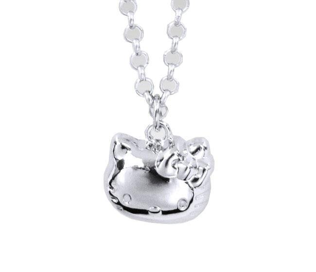 Hello Kitty 3D Pendant Necklace Pink Ribbon